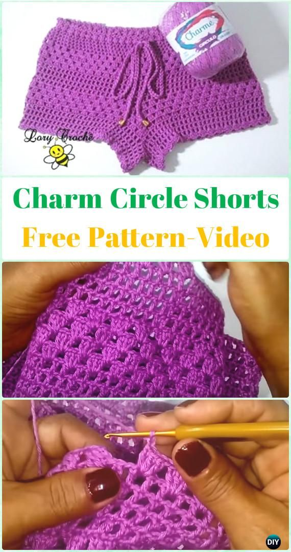 Crochet Charm Circle Shorts Free Pattern [Video] - Crochet Summer Shorts & Pants Free Patterns