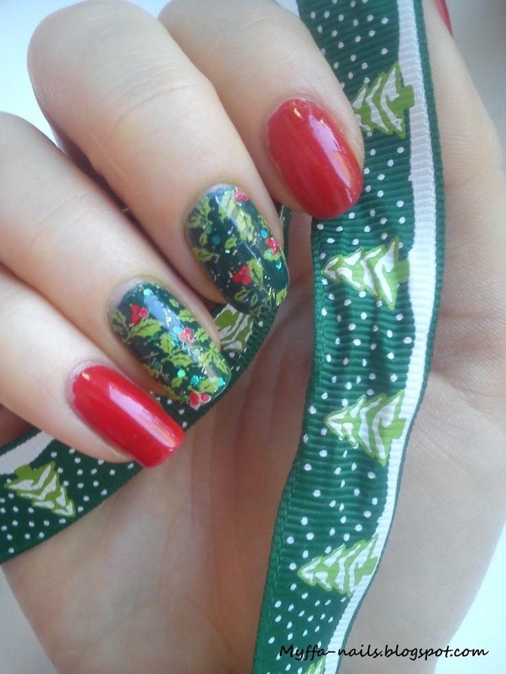 Myffa-nails: Świąteczne mani z płytką Blueberry 03 - projekt Elizy