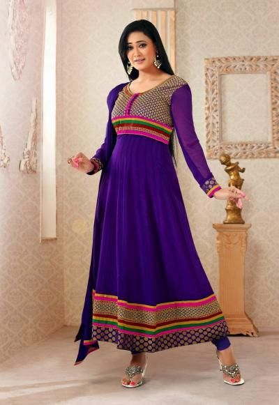 Amazing purple colored designer Shweta Tiwari Suits online for sale in UK. Browse the complete range at Variety Haat