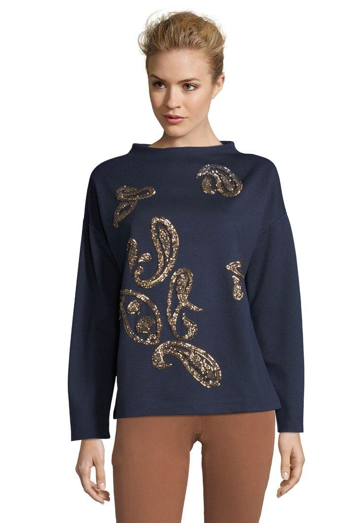 betty barclay punto di roma vintage style pullover dark blue