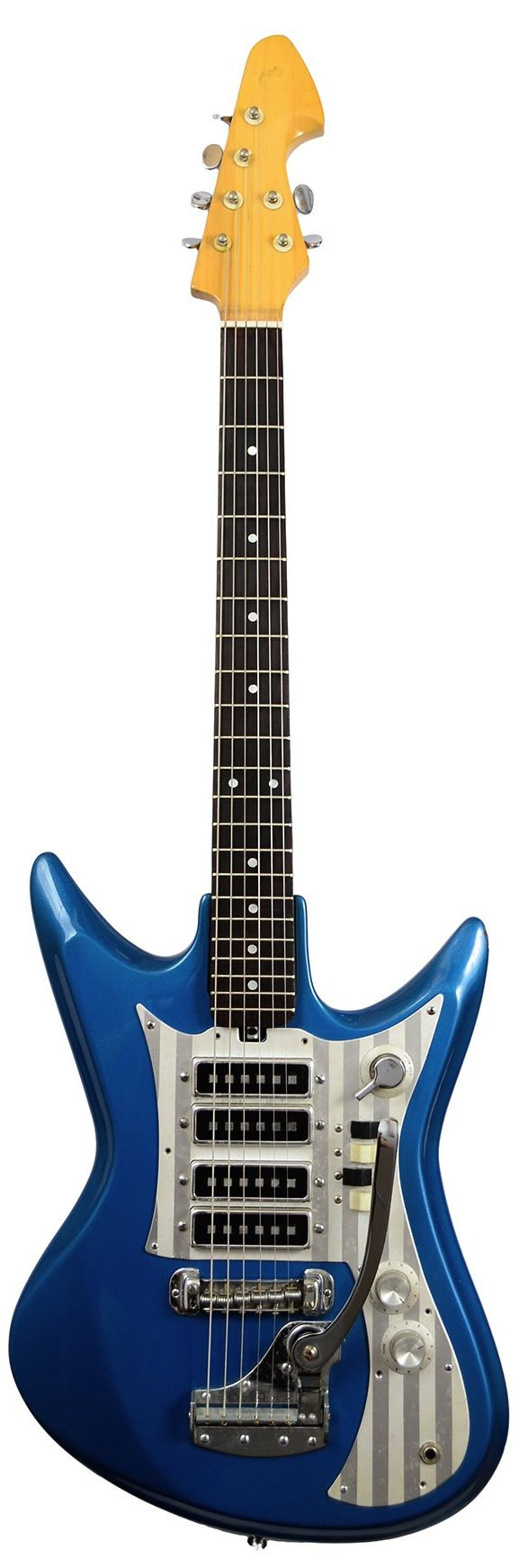 '60 Teisco Del Ray Guitar - The Teisco brand name stands for 'Tokyo Electric Instrument and Sound Company'. Teisco was founded in 1946 by renowned Hawaiian and Spanish guitarist Atswo Kaneko, and electrical engineer Doryu Matsuda. The company was originally called Aoi Onpa Kenkyujo (roughly: Hollyhock Soundwave or Electricity Laboratories). Kawai Musical Instruments Manufacturing Co. Ltd. discontinued the Teisco brand name for guitars in 1969 (1977 in Japan).