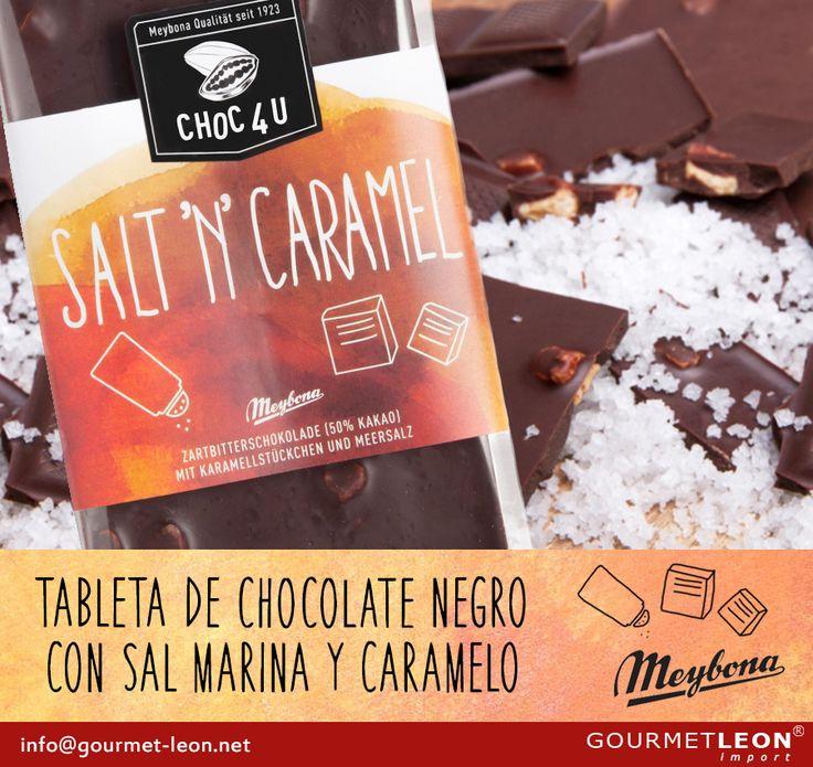 """Aprovechamos y presentamos la variedad del surtido """"choc 4 you"""" de MEYBONA:       MEY137069 Chocolate negro 50% con sal marina y caramelo  Descubre toda la NUEVA gama de MEYBONA."""