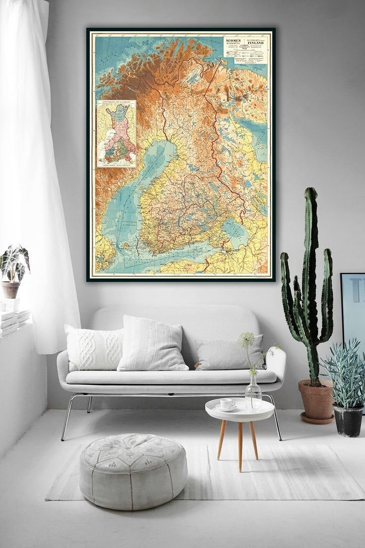 Finland Map 1921 Suomen Kartta Suomi Old Finland Wall Map
