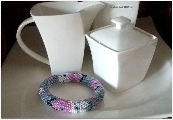 Fall Sale CHERRY BLOSSOM seed beaded crochet от LariLaBelle