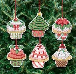 Janlynn Christmas Cupcake Ornaments Counted Cross Stitch Kit