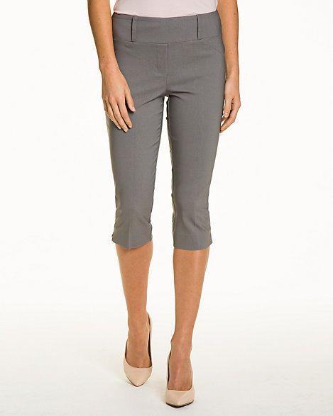 Stretch Woven Straight Leg Crop Pant