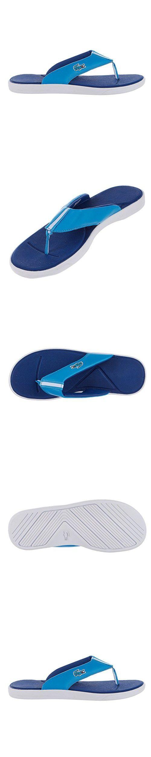 Lacoste L30 Men's Leather Flip Flops Sandals Red Size 10