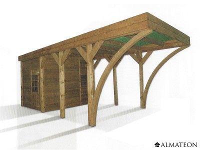 carport en pin pour 1 voiture avec remise m. Black Bedroom Furniture Sets. Home Design Ideas