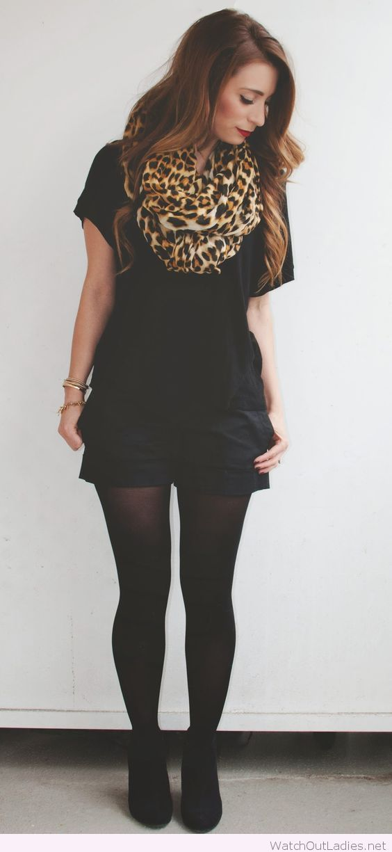 All black outfit with leo scarf