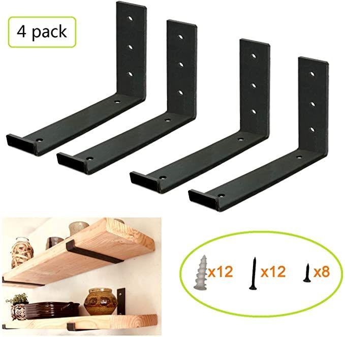 """2Pcs 10/"""" Heavy Duty Metal Shelf Bracket Modern Industrial Style Iron Shelving ~"""