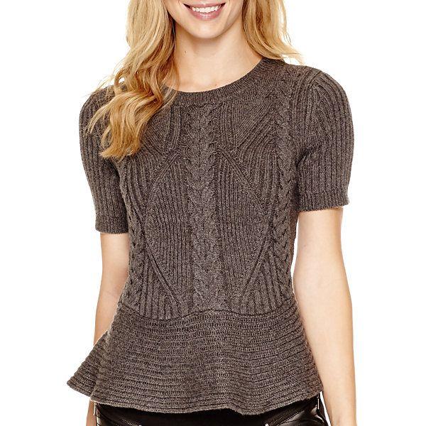 Worthington® Short-Sleeve Peplum Sweater - JCPenney