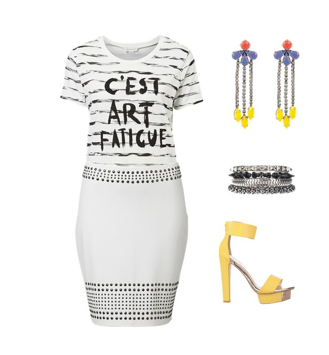 Monotone with a splash. I love these bright yellow heels paired with a simple slogan tee. Gorg.