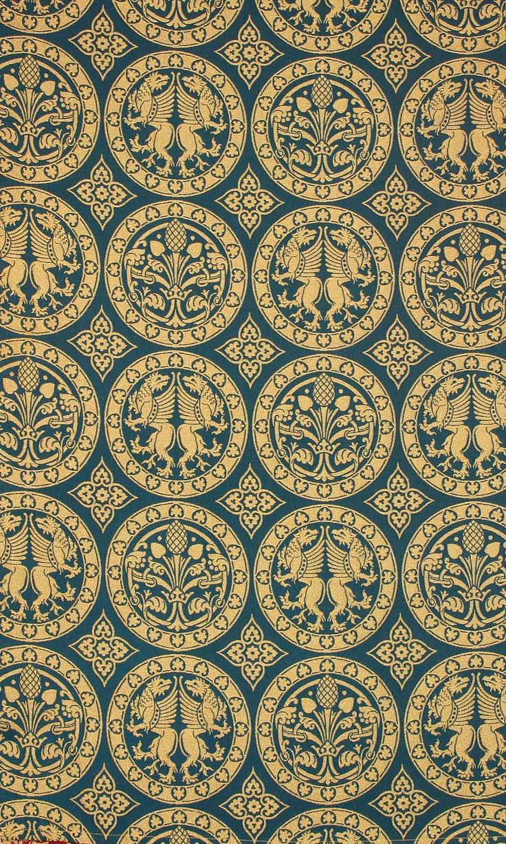 CHALCEDON BLUE BROCADE This Byzantine inspired fabric includes gryphons, the symbol of the human and divine nature of Christ. Fabric samples available free of charge on request