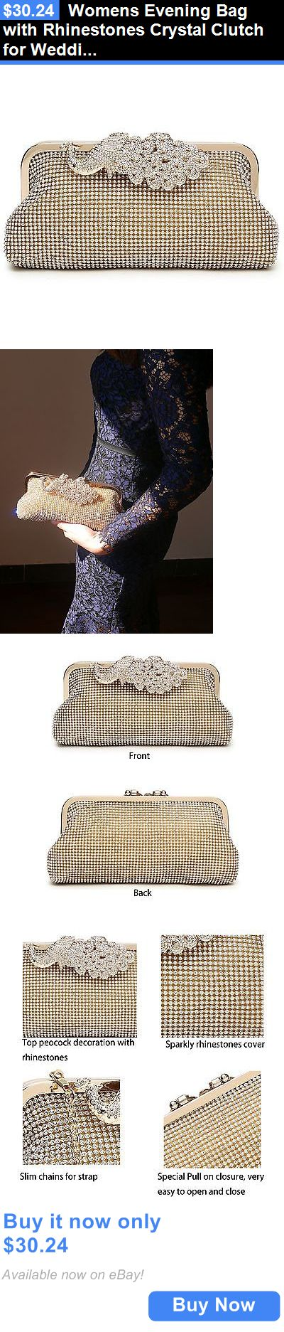 Bridal Handbags And Bags: Womens Evening Bag With Rhinestones Crystal Clutch For Wedding And Party Gold3 BUY IT NOW ONLY: $30.24