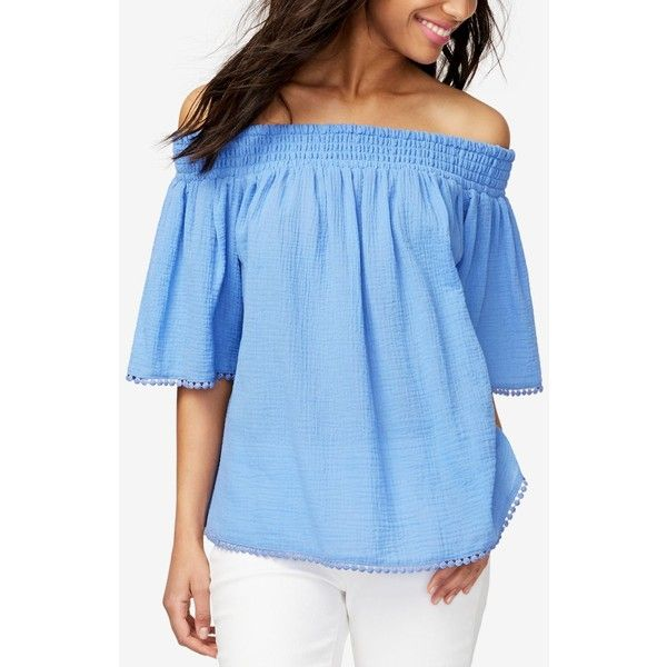 Rachel Rachel Roy Cotton Off-The-Shoulder Top, ($40) ❤ liked on Polyvore featuring tops, beachglass blue, off the shoulder tops, off shoulder tops, blue top, flared sleeve top and smock top