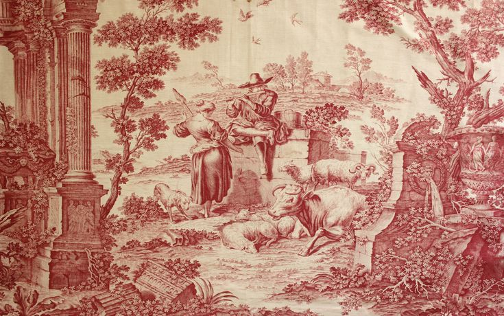 Antique english french fabric old ford pastoral red for French toile fabric