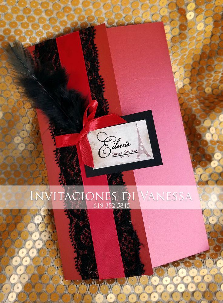 Moulin Rouge Vintage Paris invitation for Quinceañera. Shipping available! Follow me on Facebook and Instagram @invitacionesdivanessa #invitacionesdivanessa