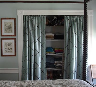 Curtains to replace closet doors in master bedroom. The closet isn't deep enough for the hangers to hang straight and the doors to close. (Send the leftover doors to M's room and the pantry space.)
