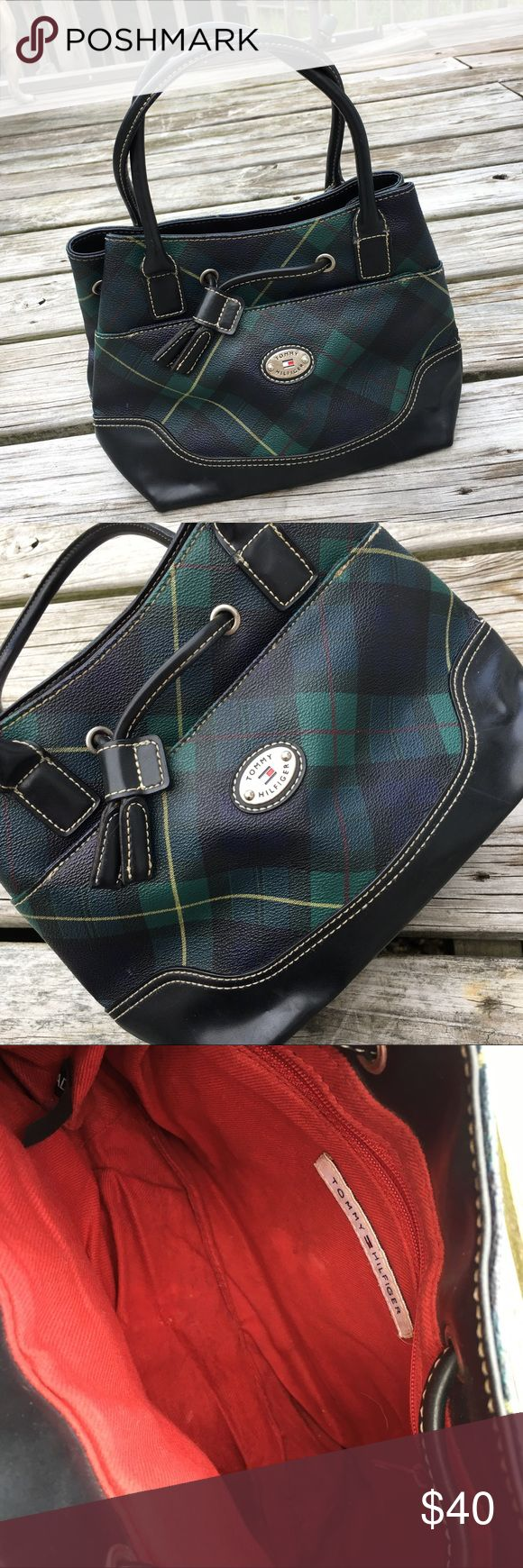 "TOMMY HILFIGER SATCHEL PURSE SHOULDER BAG HANDBAG! Vintage Vtg Retro Mid-Late 90's Y2K Era PERFECT Cute Sexy Dark Green / Dark Blue / Yellow / Dark Red / Black Leather Tommy Hilfiger Tarten Plaid Checker Checkered Unique Textured Small Mini Satchel Tote Handbag Bag Purse || Brand new || Never used || NO major flaws. Many years old. Minor agewear- light scuffs, marks blemishes, etc. Nothing serious. Overall excellent condition! || Approx. 12"" at widest point x 8"" tall x 5.5"" deep 