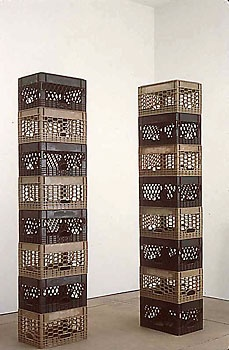 Tony Feher  Either/Or 1998   each stack: 84 3/4 x 18 1/2 x 12 3/4 inches  each unit: 10 1/2 x 18 1/2 x 12 3/4 inches   2 stacks of 8 alternating black and tan plastic packing crates
