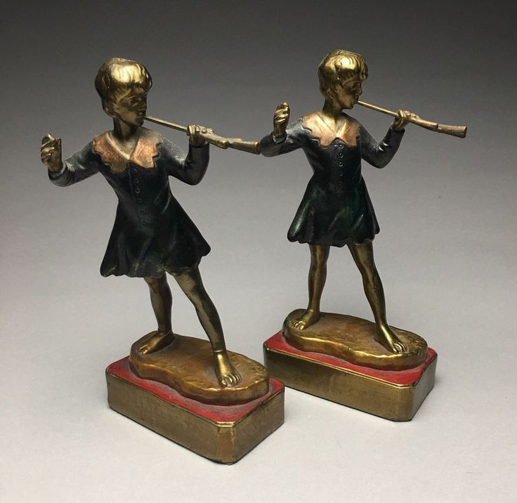 Vintage Pompeian Bronze Clad Peter Pan In Kensington Gardens Bookends   | eBay