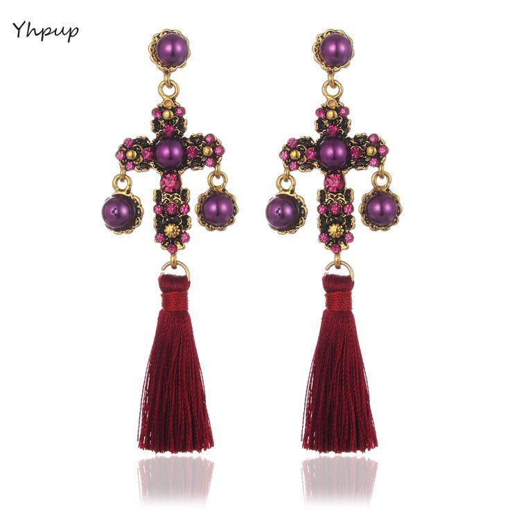 Yhpup Baroque Fashion Vintage Cross Pearl Dangle Long Silk Tassel Pendant Retro Palace Statement Earrings Women Party Earrings