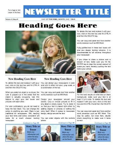 """Sleek looking front page, all purpose news template.  Try this 11""""x14"""" newsletter template now using our Free Cloud Designer: www.makemynewspaper.com/free-newsletter-templates"""