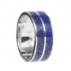 Silver Lapis Lazuli Ring of Two Rows