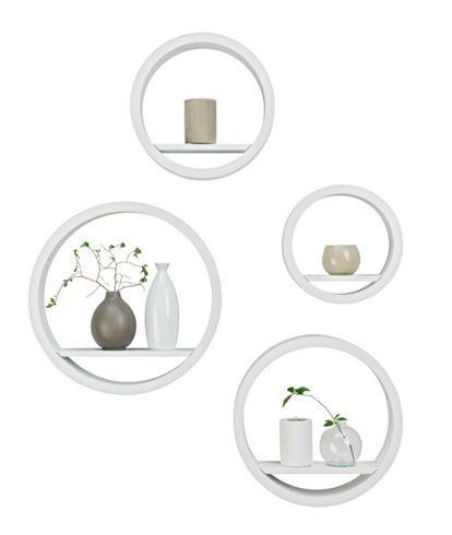 Falipolc szett, lakkozott, matt fehér, MDF lapokból, kerek formájú, 4 féle méretben, max.méret:kb.40/9/40cm