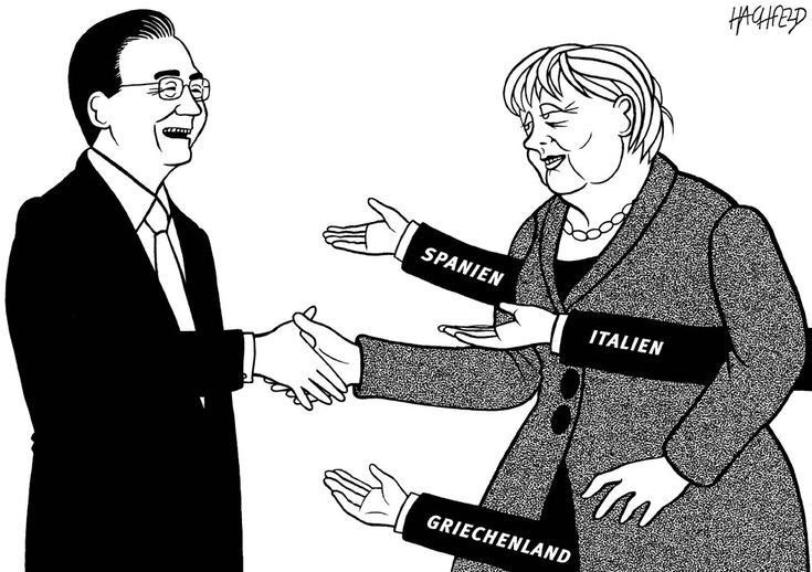 """""""Handshake of friendship"""" - On her second visit of the year to China, on August 29-30, Angela Merkel is taking with her a delegation of German business leaders in an effort to help sign several commercial contracts between the two countries. But the German Chancellor should also encourage Beijing to ink some deals with Greece and Spain, as well as to boost Chinese investment in EU countries."""