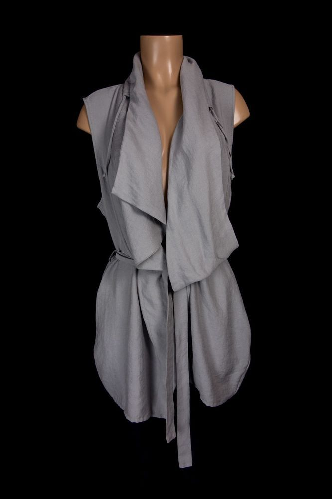 SARAH PACINI Vest 4 US L 12 14 Gray Bamboo Lagenlook Belted Asymmetrical Top #SarahPacini