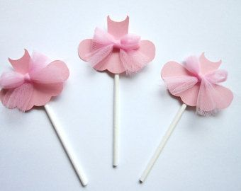 Items similar to Ballet Tutu Cupcake Toppers  Set of Four for Ballerina Party Birthday Party on Etsy