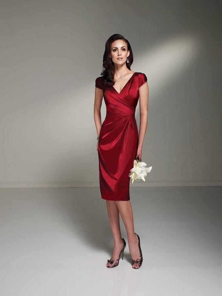 Modest V Neck Short Cap Knee Length Burgundy Mother of the Bride Dress
