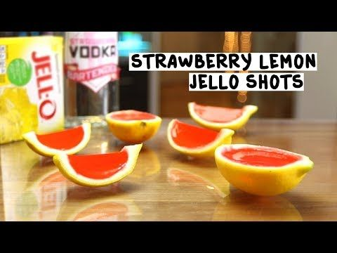 STRAWBERRY LEMON JELLO SHOTS 2 oz. (60ml) Strawberry Vodka 3 oz. Lemon Jello 8 oz. (240ml) Hot Water Pink Food Coloring Lemons PREPARATION 1. Cut lemons in half and remove flesh with a spoon. Set aside. 2. Add lemon jello to hot water and stir well. Allow to cool. 3. Add strawberry vodka and food …
