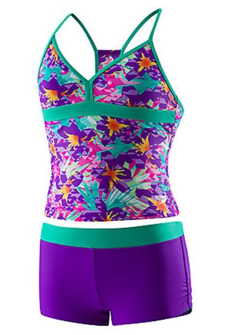 1d693ebe87 Speedo Swimsuit Size Youth 14 Tankini 2 pieces Purple Jungle Floral Ruffle