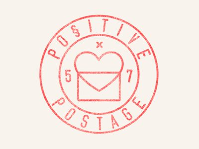 positive postage logo  / repinned on Toby Designs