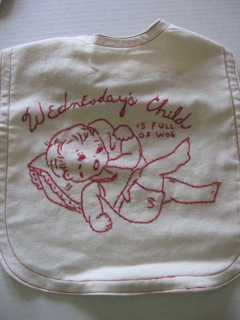 Bib Done in Redwork Wedensdays Child is by Maggieruthcreations, $7.00