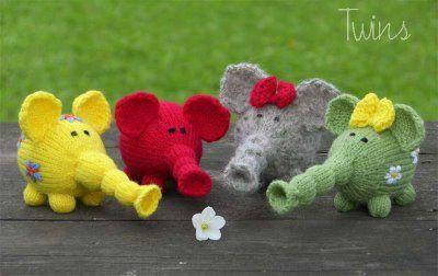 knitted dolls, bears, rabbits etc.