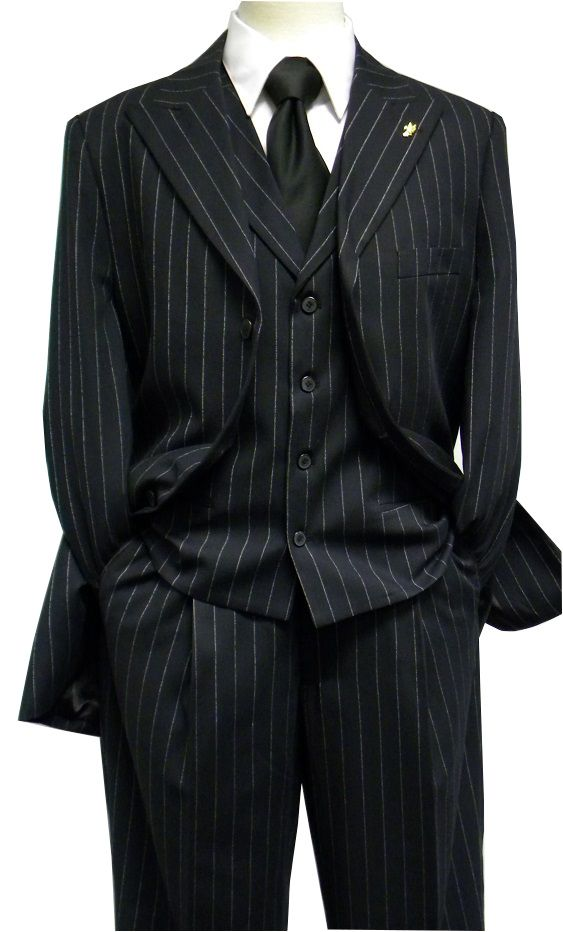 Falcone Mens Black Gangster Stripe Square Vested 1920s