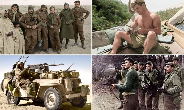Stunning pictures, colourised by Paul Reynolds, show Special Air Service and Special Boat Service troops battling Axis soldiers on campaign in the desert, at sea and in Germany itself.