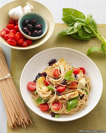 Mediterranean pasta w artichokes, olives, and tomatoes....would add some grilled chicken and use feta instead of parmesan