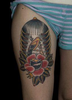 bird rib cage tattoo myke chambers (by Myke Chambers Tattoos)