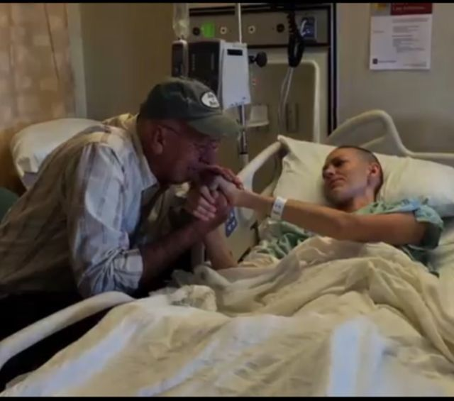 Joey's father and Joey when Joey was hospitalized for Stage IV cervical cancer