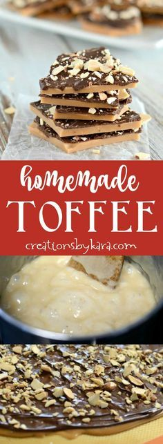 The best English Toffee recipe- so easy and so scrumptious! Everyone raves over this toffee! via creationsbykara.com