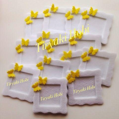 ♥ Tiryaki Hobi ♥: Keçe çerçeve magnet - kelebek