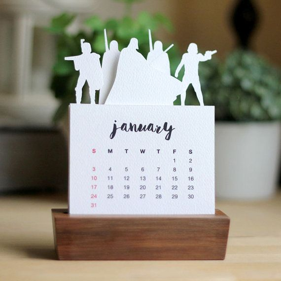 2016 Minimalist Paper Cut Desk Calendar with Solid Wood Stand Star Wars Series 1