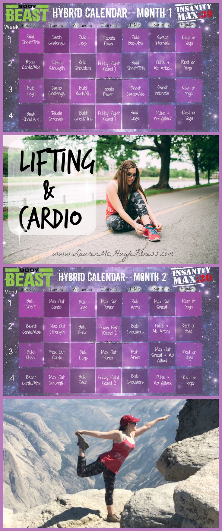 Are you a cardio queen? A lifting beast? I'm trying to be both, so I made this awesome home workout hybrid schedule of 2 of the most effective programs I've used so far! CLICK the pin for more info on