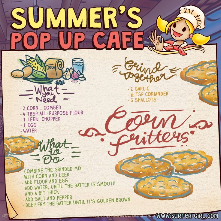 Hi Girls ^^ Who likes to eat fritters? :) It tastes savory and crispy on the outside, hmm…yummy! ^^ I have this simple recipe for corn fritters :) Corn also has benefit for our body ^^ Let's try this recipe, Girls! Love, Summer <3 #surfergirl #positivedifference #healthyrecipe