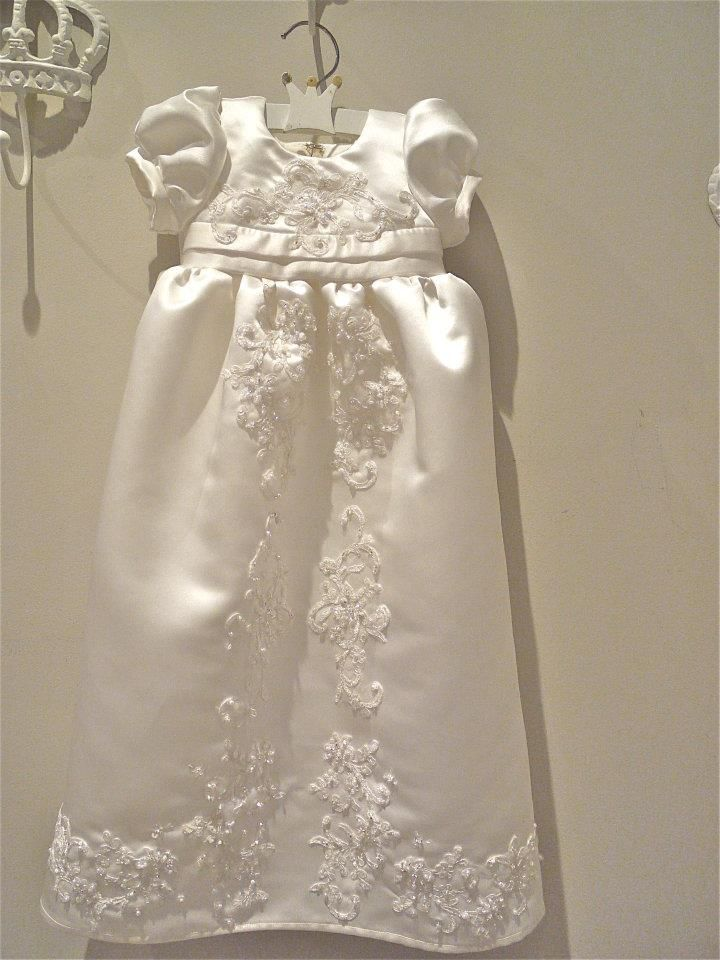 pure silk christening gown made from mum's wedding dress means recycling of fabrics but with the love absorbed from the wedding day dress into the babies dress