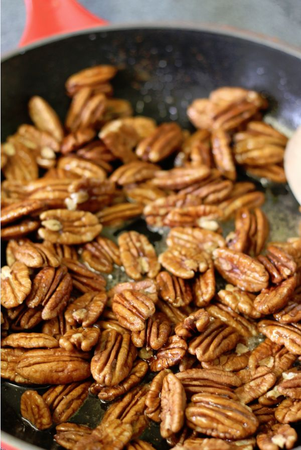 Honey Glazed Pecans Recipe - just TWO cups #pecans, honey and dash of red pepper